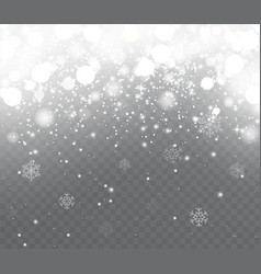 Falling snow with snowflakes vector