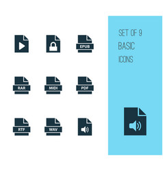 File icons set with wav data pdf and other vector