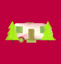 flat icon in shading style trailer in forest vector image