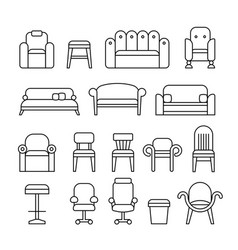 Furniture chair armchair lounge sofa couch vector