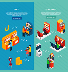 game machine banners set vector image