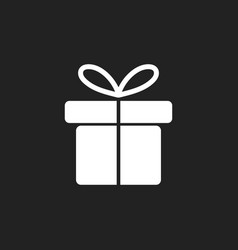 gift box icon flat on black background vector image