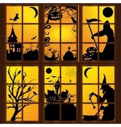 Halloween windows in house vector image
