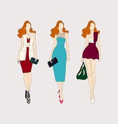 Hand drawn fashion girls vector image vector image