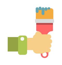hand holding paintbrush vector image
