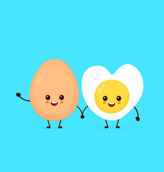 happy cute smiling funny kawaii fried egg vector image