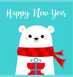 happy new year polar white bear cub face holding vector image