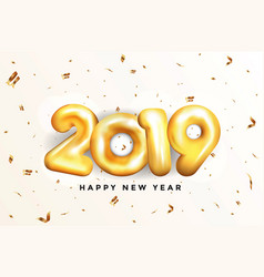 holiday new year card 2019 - golden balloons vector image