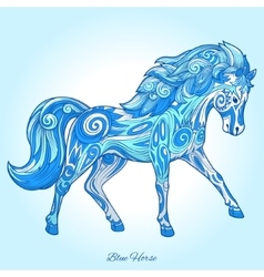 Horse hand drawn blue color ornament vector