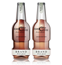 Ice coffee glass bottles realistic mock up vector
