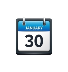 January 30 calendar icon flat vector