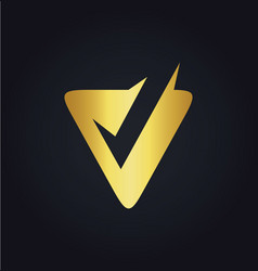 Letter v check gold logo vector