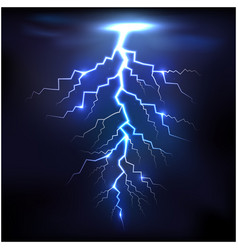Lightning of blue with a black background vector