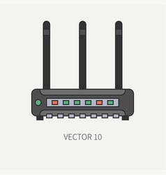 Line flat color computer part icon wireless vector