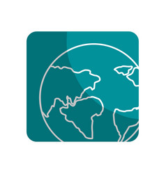 Logotype earth planet with global geographys vector