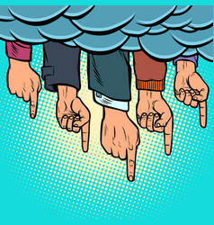 many hands pointing out from clouds vector image