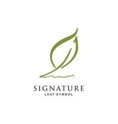Minimalist quill pen signature logo design vector