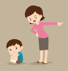 mother scolding sad children vector image