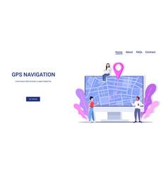 People using computer navigation app to get vector