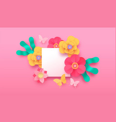 pink papercut flower butterfly background template vector image