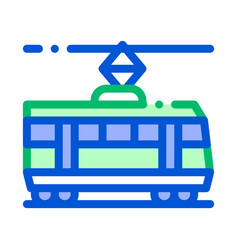 Public transport tramway thin line icon vector