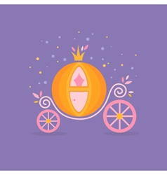 Pumpkin carriage for Cinderella cartoon fairy-tale vector