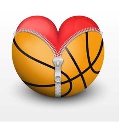 Red heart inside basketball ball vector image