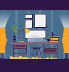 Room interior with desk and lamp vector