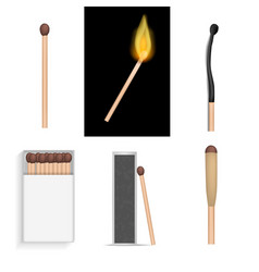 safety match ignite mockup set realistic style vector image