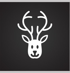 santas deer icon on black background for graphic vector image
