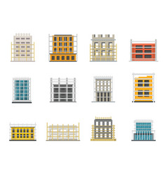 Scaffolding construction icons set flat style vector