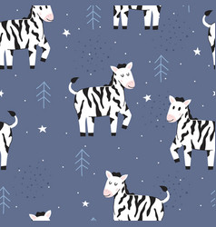 Seamless pattern cute zebra vector