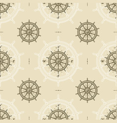 seamless vintage ship wheel pattern vector image
