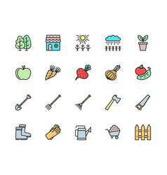 set agriculture color line icons fence field vector image