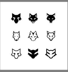 set head wolf logo vector image
