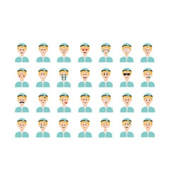 Set of doctor emoticon isolated on white vector image