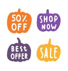 Set of sale badges pumpkins silhouette vector