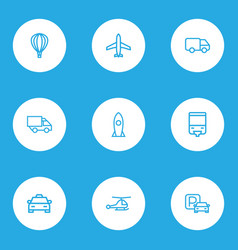 Shipment outline icons set collection of bogie vector