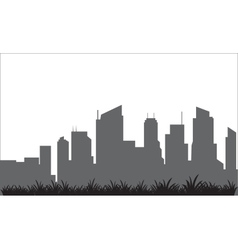 Silhouette of the building and lawn vector