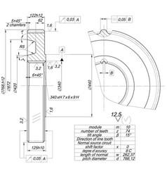 Sketch wheel with tilt angle vector