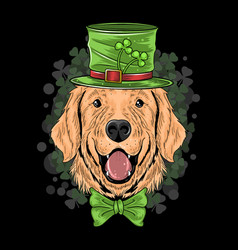 st patricks day cute golden retriever puppy dog vector image