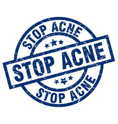 stop acne blue round grunge stamp vector image