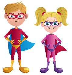 Super kids caucasian vector