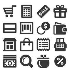 supermarket shopping icons set on white background vector image