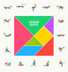 Tangram puzzle square set triangle vector
