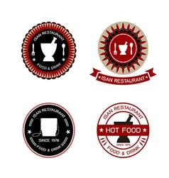 thai restaurant labels vector image