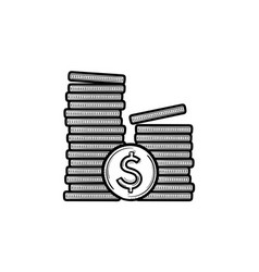 two piles of coins hand drawn outline doodle icon vector image