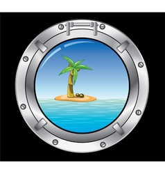 Vector travel concept of metal porthole and palm t vector