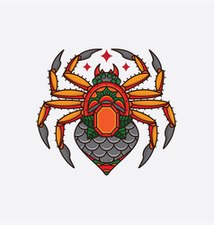 vintage spider traditional flash tattoo vector image