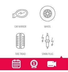 Wheel car mirror and spark plug icons vector